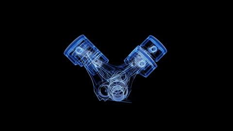 vídeos y material grabado en eventos de stock de v12 pistón y manivela xray animación - plano descripción física