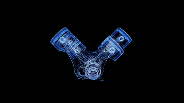 V12 piston and crank xray animation