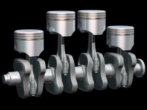 pistons and crankshaft animation 2 - piston stock videos & royalty-free footage