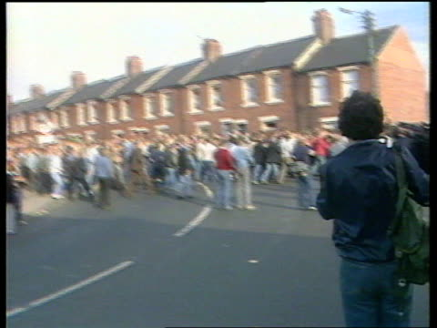 Pit closures special C4 report from Co Durham 1984 GV Miners demonstrating at pit during miners' strike