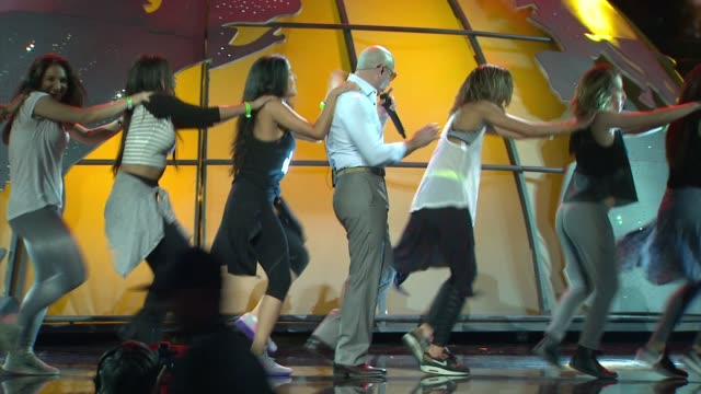 pitbull at 2014 american music awards rehearsals at nokia theatre la live on november 21 2014 in los angeles california - american music awards stock videos & royalty-free footage