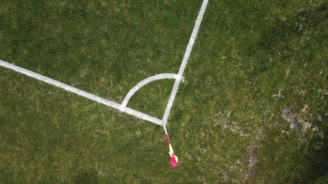 pitch, aerial view, football, corner arc - football pitch stock videos & royalty-free footage