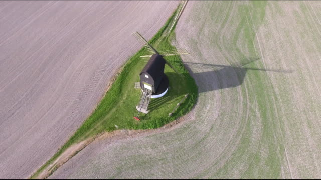 pitstone windmill aerial view 4k - 17th century stock videos & royalty-free footage