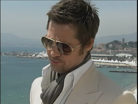 cu pitt outside on terrace overlooking ocean at cannes - brad pitt actor stock videos & royalty-free footage