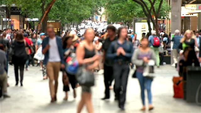 pitt street sydney crowds - city life stock videos & royalty-free footage