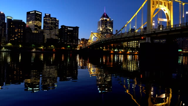 pittsburgh downtown skyline panorama by night - pittsburgh video stock e b–roll