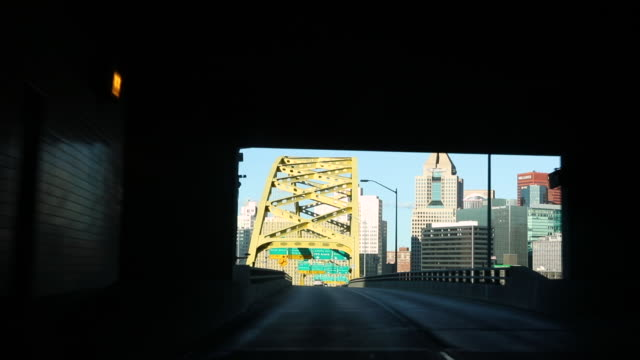pittsburgh pennsylvania entrance through the fort pitt tunnel - pennsylvania stock videos & royalty-free footage