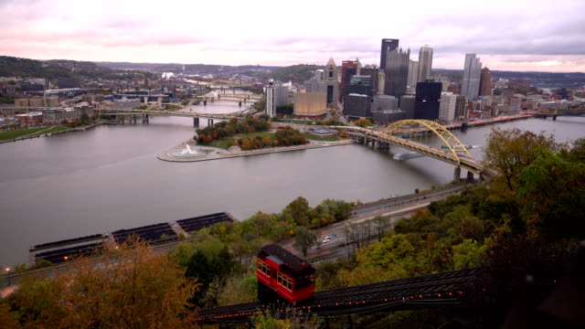 pittsburgh skyline from the top of the duquesne incline in mount washington - pennsylvania stock videos & royalty-free footage