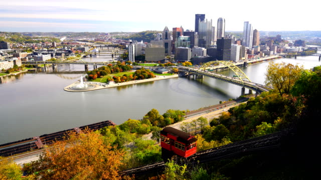 pittsburgh skyline from the top of the duquesne incline in mount washington - pittsburgh video stock e b–roll
