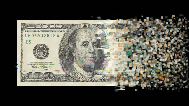 pixelated dollar currency on black background - blockchain stock videos & royalty-free footage