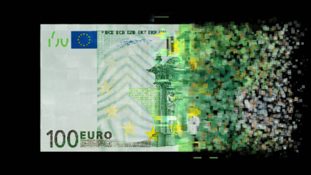 pixelated european union currency on black background - cryptocurrency stock videos & royalty-free footage