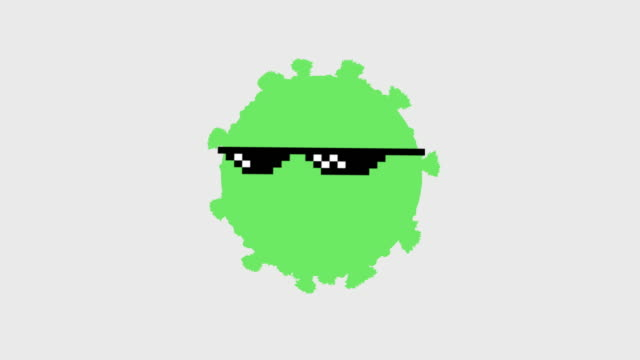 pixelated virus thug life concept motion graphics. sunglasses falling on green simple coronavirus - ugliness stock videos & royalty-free footage