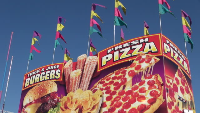 ms pizza and burgers shop at stampede park / calgary, alberta, canada - western script stock videos & royalty-free footage