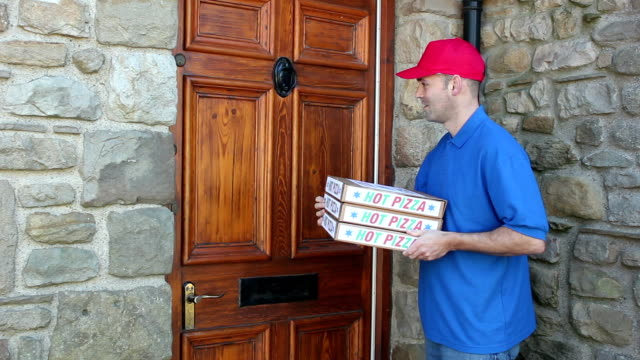 pizza delivery - outside house - take away food stock videos and b-roll footage