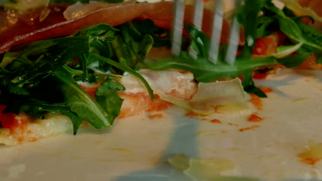 pizza with fork - eating utensil stock videos and b-roll footage