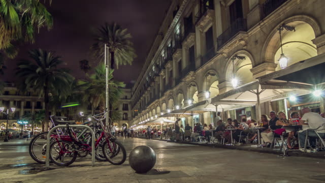 Placa Reial night timelapse in Barcelona, Spain.