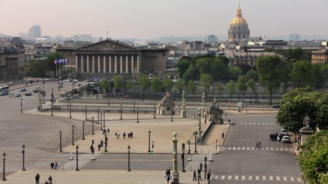 T/L WS HA Place de la Concorde with Palais Bourbon and dome of Hotel Des Invalides in background / Paris, Ile de France, France