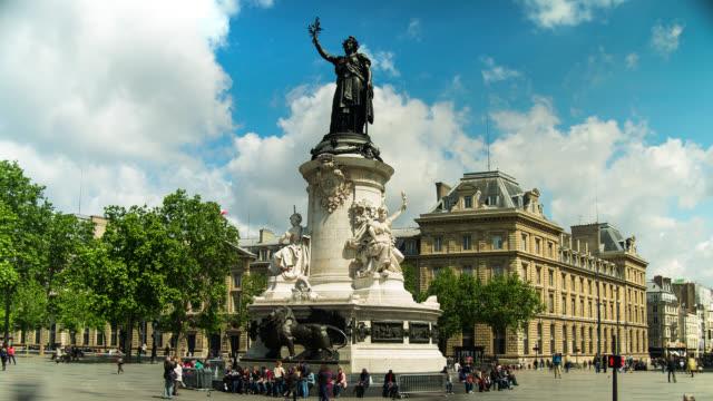 T/L Place de Republique in Paris, France with clouds