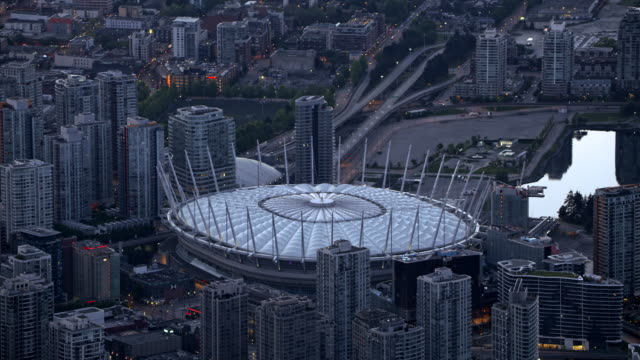 AERIAL BC Place stadium and Science World at Telus World of Science