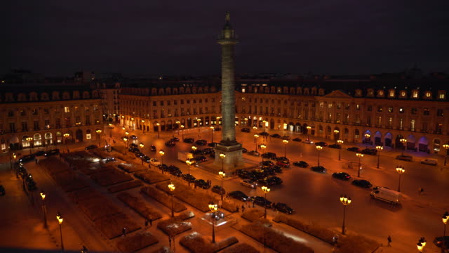 stockvideo's en b-roll-footage met place vendome at night fish eye - colonne vendome