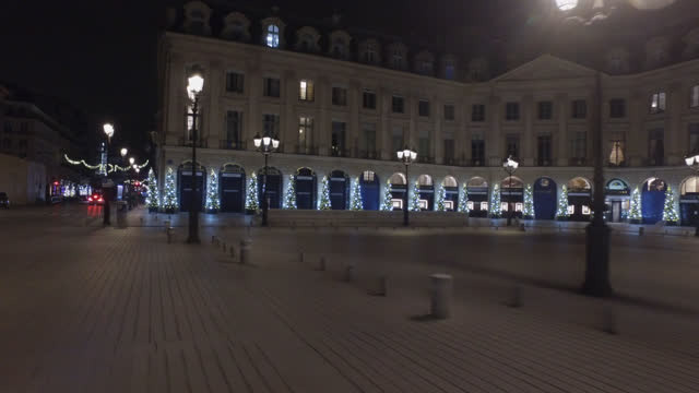 place vendome is seen decorated with illuminated christmas trees for christmas and new year celebrations on november 22, 2020 in paris, france. the... - place vendome stock videos & royalty-free footage