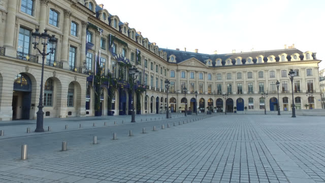 place vendome with closed luxury jewellery stores. president macron announced on monday march 16 that the fight against coronavirus requires national... - place vendome stock videos & royalty-free footage