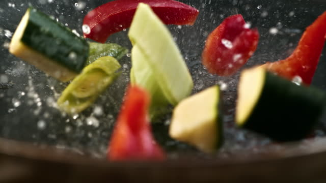 SLO MO placing vegetables into a hot pan