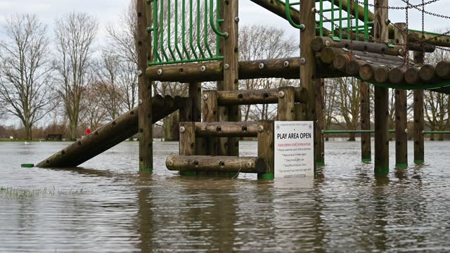 plains submerged in flood waters near river great ouse on january 19, 2021 in godmanchester, united kingdom. storm christoph is the first named storm... - weather stock videos & royalty-free footage