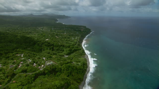 Plaisance Bay and the coastal village of La Plaine on the Caribbean Island of Dominica.