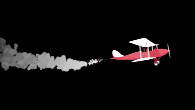 飛行機と煙 - アルファキーチャンネル4k映像 - プロペラ機点の映像素材/bロール