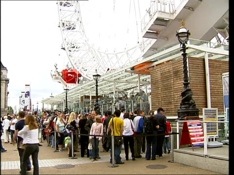effect on economy and tourism england london covent garden ext ken kelling interview sot south bank london eye tourists queuing to ride on london eye... - for sale englischer satz stock-videos und b-roll-filmmaterial