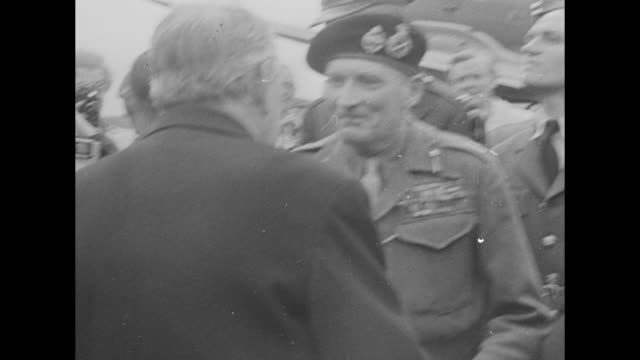 plane carrying field marshal sir bernard montgomery taxis at copenhagen airfield after world war ii crowd waiting on tarmac / montgomery steps down... - finishing stock videos & royalty-free footage