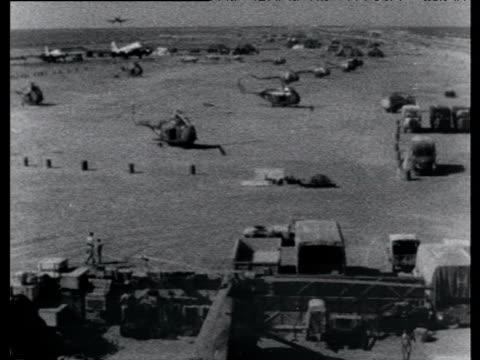 RAF plane comes in to land El Gamil airbase Suez Crisis Egypt 22 Nov 56