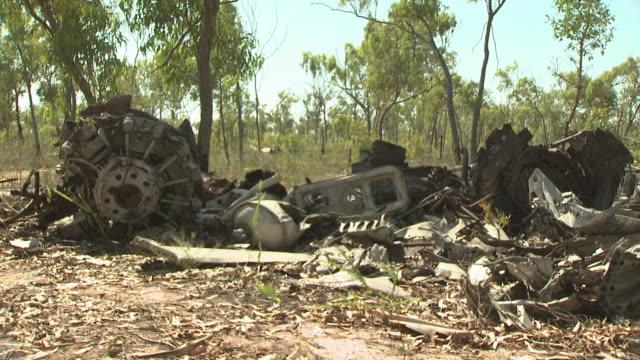 plane crash debris sits in outback, truscott, australia - 破壊点の映像素材/bロール