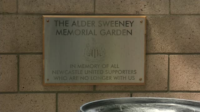 services held to mark one year anniversary england tyne and wear newcastle upon tyne st james' park various shots of of 'alder sweeney memorial... - st. james' park newcastle upon tyne stock videos & royalty-free footage