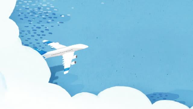 vídeos de stock e filmes b-roll de plane flying over the sea - design plano