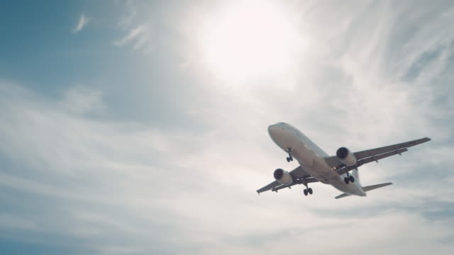 plane landing on airport - taking off stock videos and b-roll footage