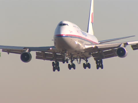 a plane lands at los angeles international airport. - landen stock-videos und b-roll-filmmaterial