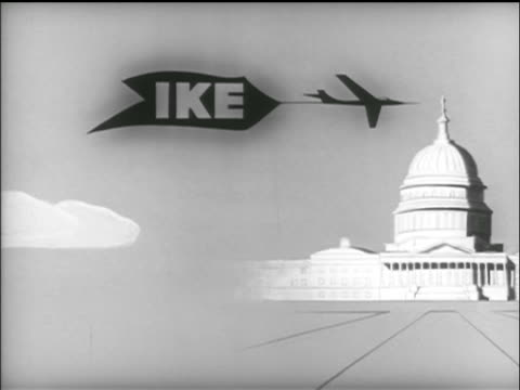 ANIMATION plane pulling 'IKE' banner flies over Capitol buidling / TV commercial