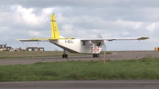 a plane takes off from guernsey airport setting off on an air search for a missing plane carrying premier league player emiliano sala who is presumed... - guernsey stock videos and b-roll footage
