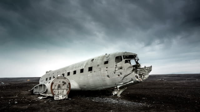 time lapse : plane wreckage , iceland - airplane crash stock videos and b-roll footage