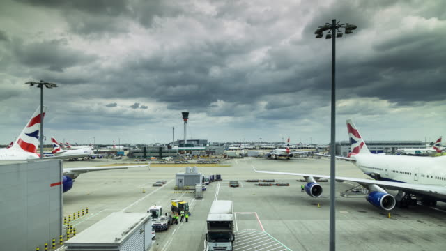 planes at heathrow airport - time lapse - heathrow airport stock videos and b-roll footage