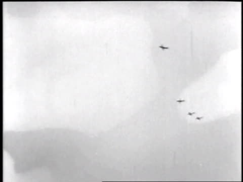 Planes dive bombing Communist targets seen through gun cameras / Korea