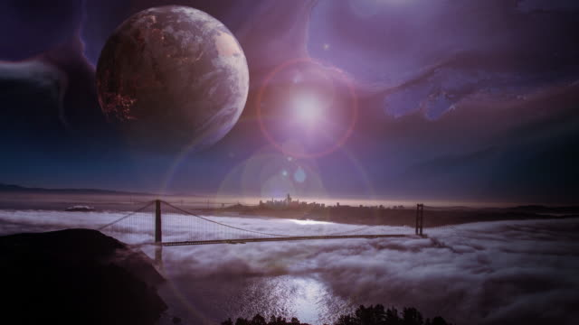 planet above city skyline in a futuristic world - golden gate bridge stock videos & royalty-free footage