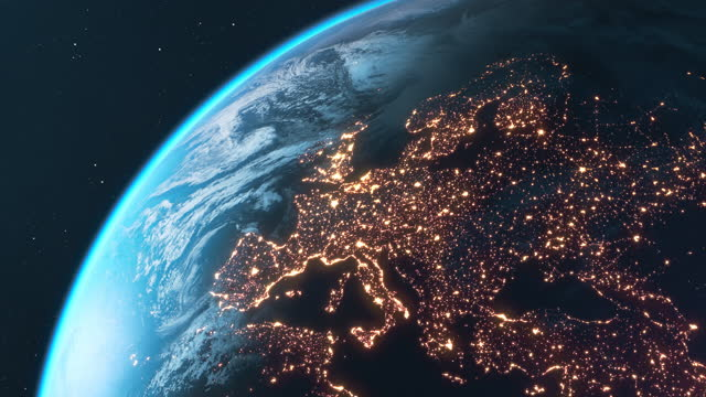 planet earth at night - europa, nord america e sud america - europa continente video stock e b–roll