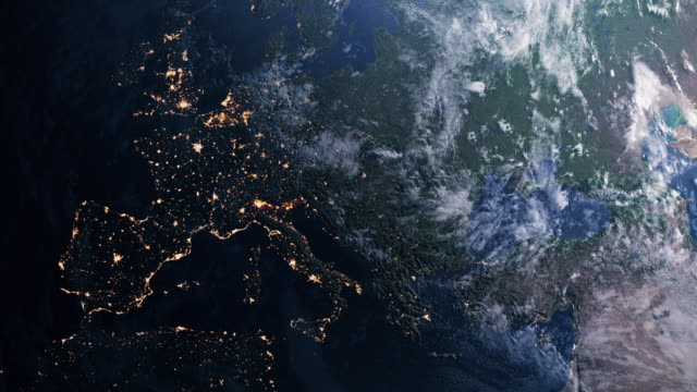 planet earth. day to night. orbiting over southern europe - day to night stock videos & royalty-free footage
