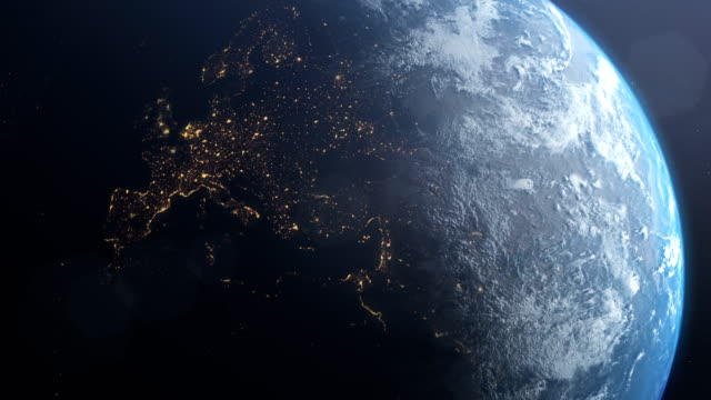 planet earth. europe. nasa public domain imagery - burning stock videos & royalty-free footage