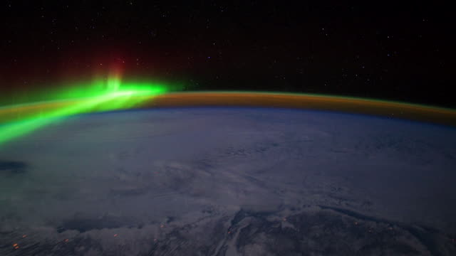 Planet Earth from ISS: Close Up of the Aurora Borealis from the Cosmos
