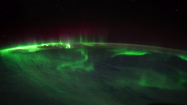 planet earth from iss or international space station: aurora australis - aurora australis stock videos & royalty-free footage