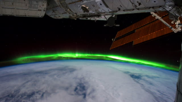 planet earth from iss or international space station: aurora australis south of australia - aurora australis stock videos & royalty-free footage